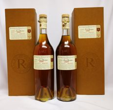 2x Raymond Ragnaud Vintage 1990 Cognac Grande Champagne 41% abv - bottled on 26-5-2011