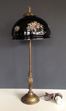 Charming Art Nouveau style lamp - brass/copper with black glass floral lamp, early 20th century, France