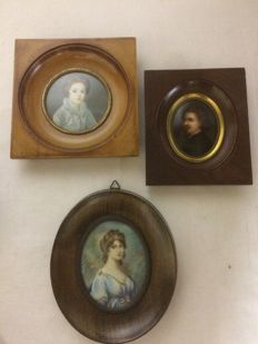 3 finely painted miniature portraits, Italy, first half 20th century
