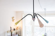 Designer unknown - pendant light with coloured lamp holders