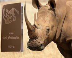 Copper bar 1 kg - 999 fine copper - 1000 g - motif 8 out of 10 - rhino - with certificate - United Kingdom 2016