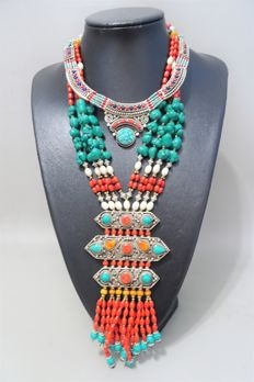 Two Tibetan style necklaces – Treated turquoise, lapis lazuli and coral paste – Stamped 925