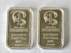 2 pieces 1 ounce silver bars NorthWest Territorial Mint.