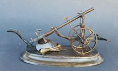 Miniature - plough - field plough - bronze, ca 1880 - model