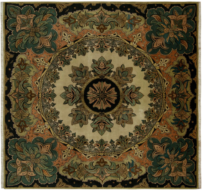(Size: 200 x 200 cm) Original, Authentic Tabriz Rug, Extra Fine 60 RAJ – With certificate of authenticity from an official appraiser from the 1970s – (Galleria Farah 1970)