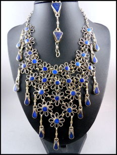 Lapis lazuli pasta jewellery from Afghanistan – necklace and bracelet - Alpaca