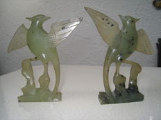 2 mythological bird figures made of serpentine –  China – secong half of the 20th century