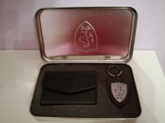 Keyring and purse in Ferrari case plus official Ferrari pocket book