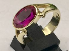 Solid handmade gold women's ring with facetted synthetic ruby - Ring size 18.5 - No reserve price