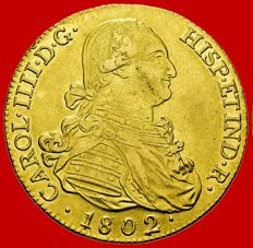 Spain – Carlos IV (1788–1808) – 8 escudos gold coin. Madrid 1802. S. Rare.