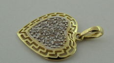 Gold pendant, 14 kt, with zirconia – 16.9 mm