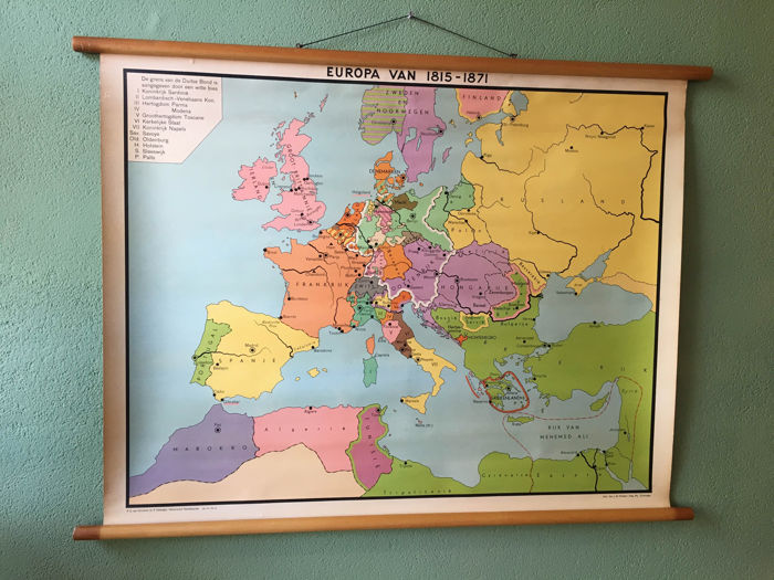 Map Of Europe In 1871.School Map Of Europe Of 1815 1871 Catawiki
