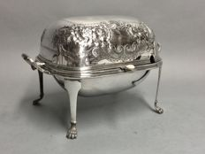 Silver plated oyster dish on four claw feet, Beresford Plate, England, ca 1880