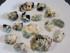 Lot of blue Aquamarine crystal specimens on matrix - 470gm