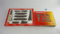 Fleischmann H0 - 6191/6193 - 2 Complete track sets shunting set and three-way switch set with switches left/right and right/curve/buffer/uncoupling rails