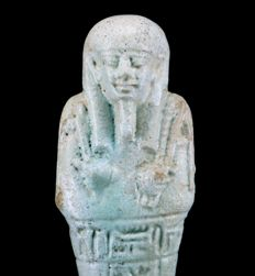 NIce faience Shabti for the priest of Smentet PA-DI-OSIRIS - ca. 13 cm a. 5,12 inches