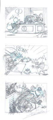 """Vendetta, Z. - Original Pencil Drawing - Donald Duck, Uncle Scrooge and The Beagles - """"A Botched Robbery"""" Triptych"""