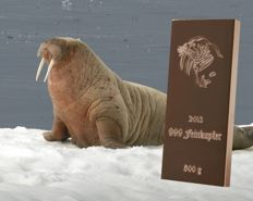 500 g / 0.5 kg copper bar - Walrus - with certificate of authenticity - 99/1000 fine copper - Germany 2013