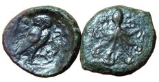 Greek Antiquity - Lot of two Æ - Italy, Sicily, Kamarina, Æ Onkia and Syracuse, Dionysios I, Æ Tetras, c. 4th century BC - Gorgoneion / Owl - Female head / Octopus - HGC 2, 552 /  CNS 14