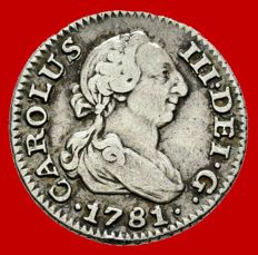 Spain – Carlos III (1759–1788). 1/2 real silver coin – 1781 – Madrid P J