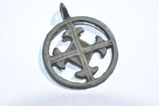 Medieval- Crusaders Period Discoid open-work Religious Pendant with Cross motif