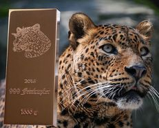 1000 g 999/1000 copper bar - Germany- 10th motif out of 10: leopard - with certificate of authenticity 2016