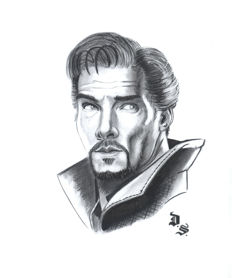 Septiembre, Diego - Original charcoal and graphite drawing - Doctor Strange