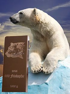 1 kg copper bar - polar bear - 999 fine copper bar - 9th motif out of 10-motif series - 1000 g + certificate - Germany 2016