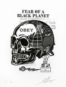 Shepard Fairey (OBEY) - Skull of a black planet