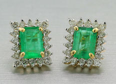 A pair of emerald-brilliant ear studs, 750 yellow gold -no reserve price-