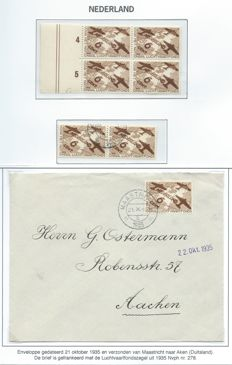 The Netherlands 1935 – National Aviation Fund – NVPH 278 in block of four, in pair and on letter