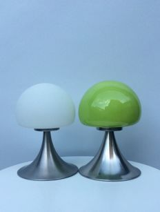 "Unknown designer - 2 x Mushroom Lamps ""Touch"", Metal and Glass"