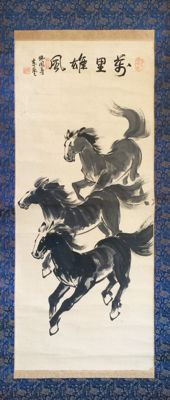 'Galloping Horses' - Impressive old handpainted scroll painting, signed and sealed - China - late 20th century