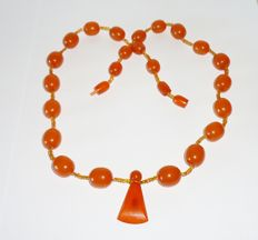 Russian old pressed Baltic amber necklace