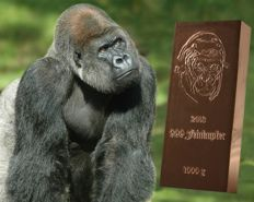 1 kilo 999/1000 copper bar - Gorilla with certificate of authenticity - fine copper bar - Germany 2013