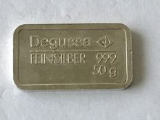 50 Grams silver bar Degussa