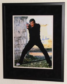 Roger Moore (RIP) originally hand signed photo/poster - Premium Framed + Certificate of Authenticity PSA