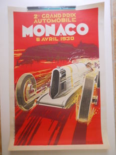 Poster of the 2nd Grand Prix of Monaco in 1930 by Robert Falcucci