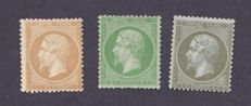 France 1862 – Yvert #19, 20 and 21.