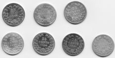 The Netherlands - 25 cents - 1894/1906 - Wilhelmina (7 different ones) - silver
