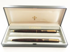 Parker 95 pen set ~ Ballpoint Pen and Pencil in Laque Thuya (wood grain) - NOS