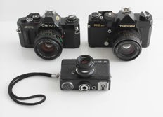 Topcon RE 300, Rollei 35 LED 300 and Canon AV-1: Black beauties