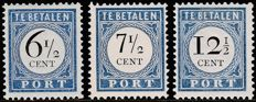 The Netherlands 1894/1907 – Postage due number and value black – NVPH P20, P21 and P23 type I