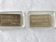 2 Pieces of older 1 ounce Degussa silver bars with image