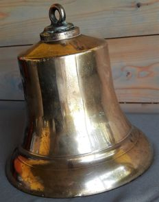 Very large copper ship bell from a tug from Netherlands