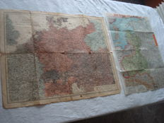 "German Empire; 2 original vintage maps from 1914/1915, ""Map of the European battleground"" and Paasche's front map no. 4, ""The Western battleground and the war against Russia"", World War I"