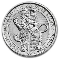 United Kingdom - 2 oz The Queen's Beasts - Lion 2016 - 5 pounds – 999 silver coin