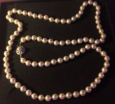 Genuine Pearls Necklace from 1930/1940 in Solid Silver and Genuine Pearls (90)