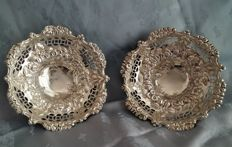 A pair of Victorian silver bonbon dishes with mark of George Nathan & Ridley Hayes, Birmingham - 1894