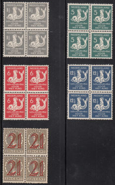 The Netherlands 1929 - Aid stamps and Child - NVPH 224 to 228 in blocks of 4.